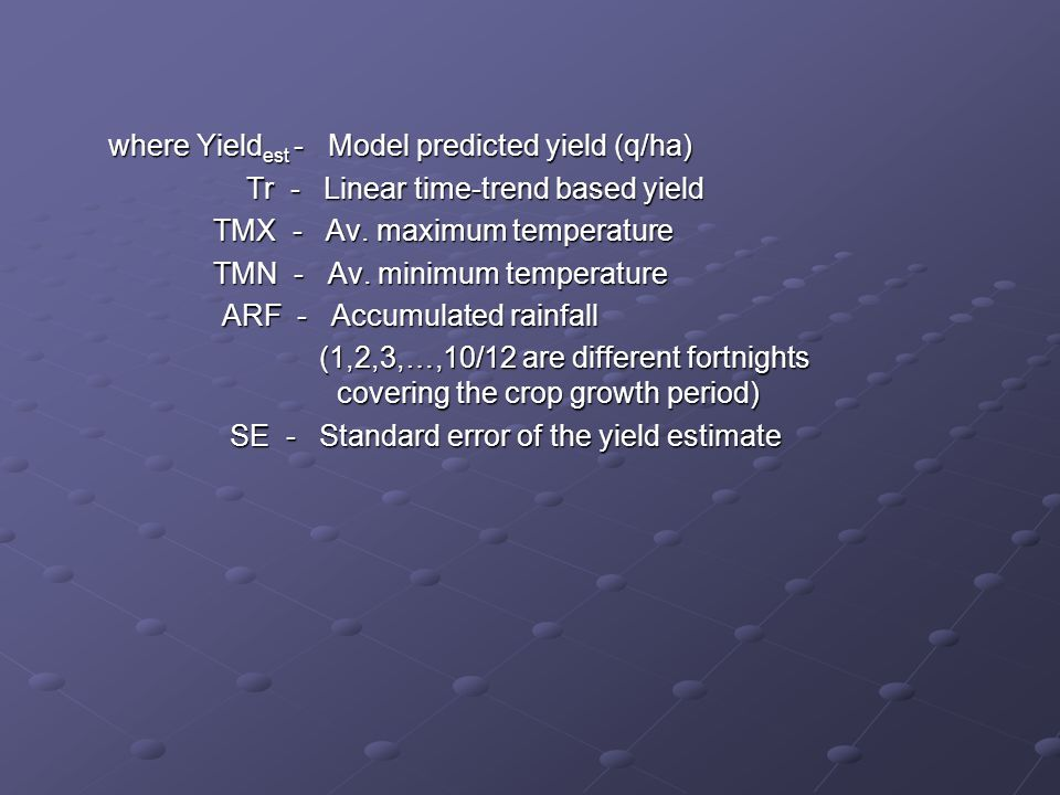 where Yieldest - Model predicted yield (q/ha)