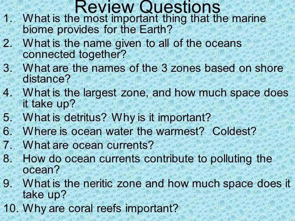 Review Questions What is the most important thing that the marine biome provides for the Earth