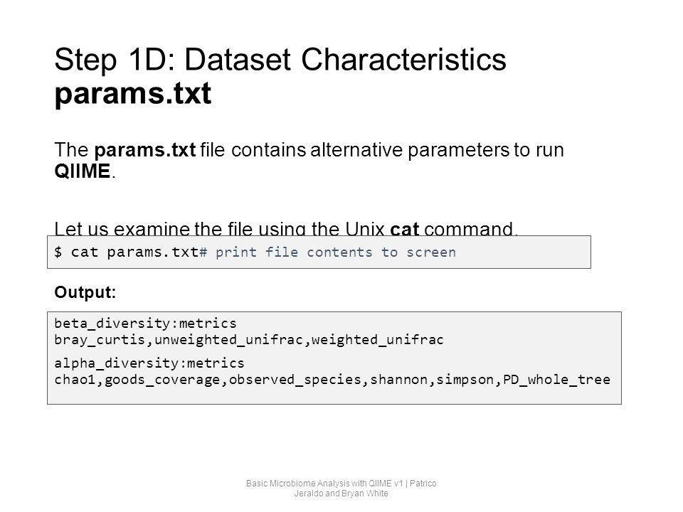 Step 1D: Dataset Characteristics params.txt