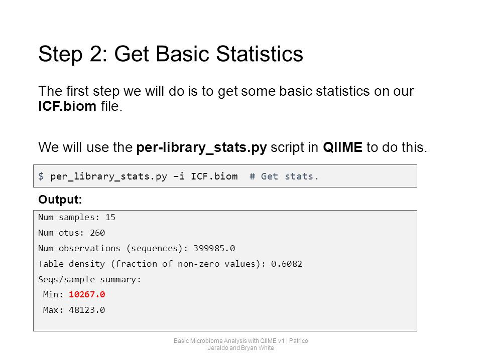 Step 2: Get Basic Statistics