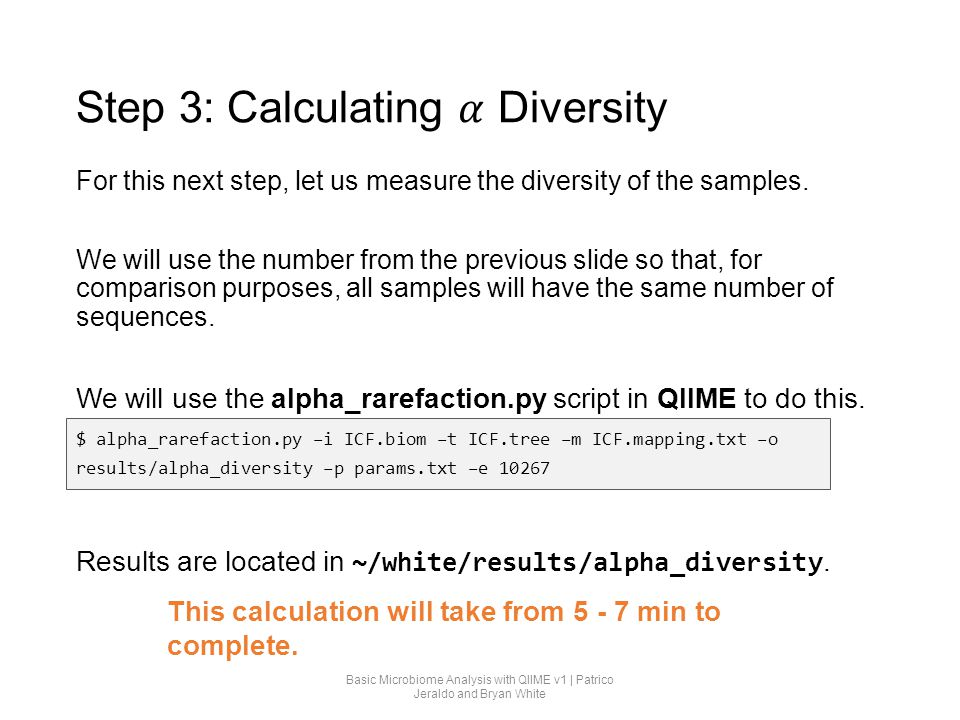 Step 3: Calculating 𝛼 Diversity