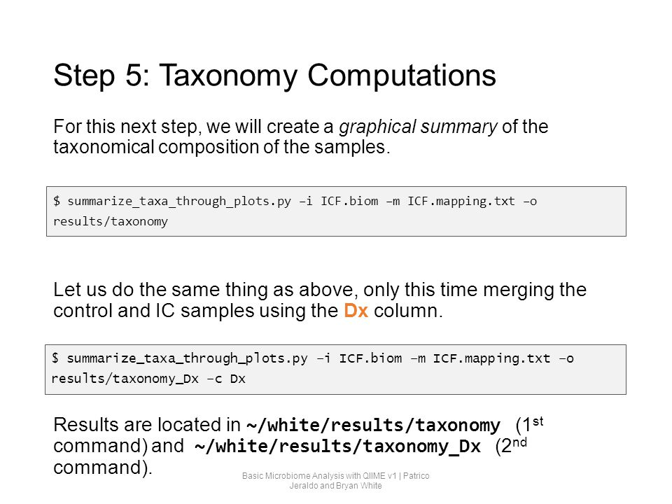 Step 5: Taxonomy Computations