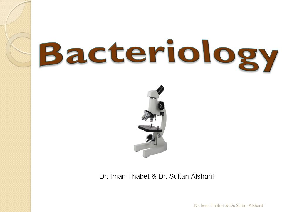 Bacteriology Dr. Iman Thabet & Dr. Sultan Alsharif
