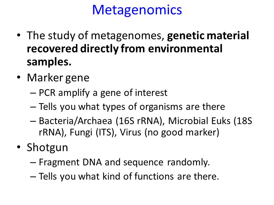 Metagenomics The study of metagenomes, genetic material recovered directly from environmental samples.