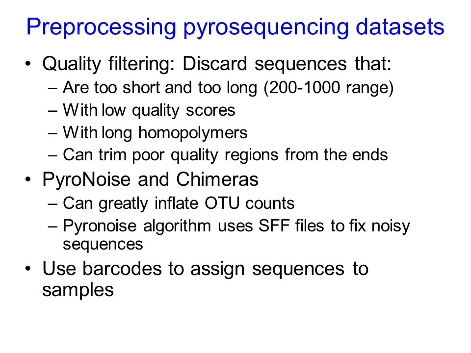 Preprocessing pyrosequencing datasets