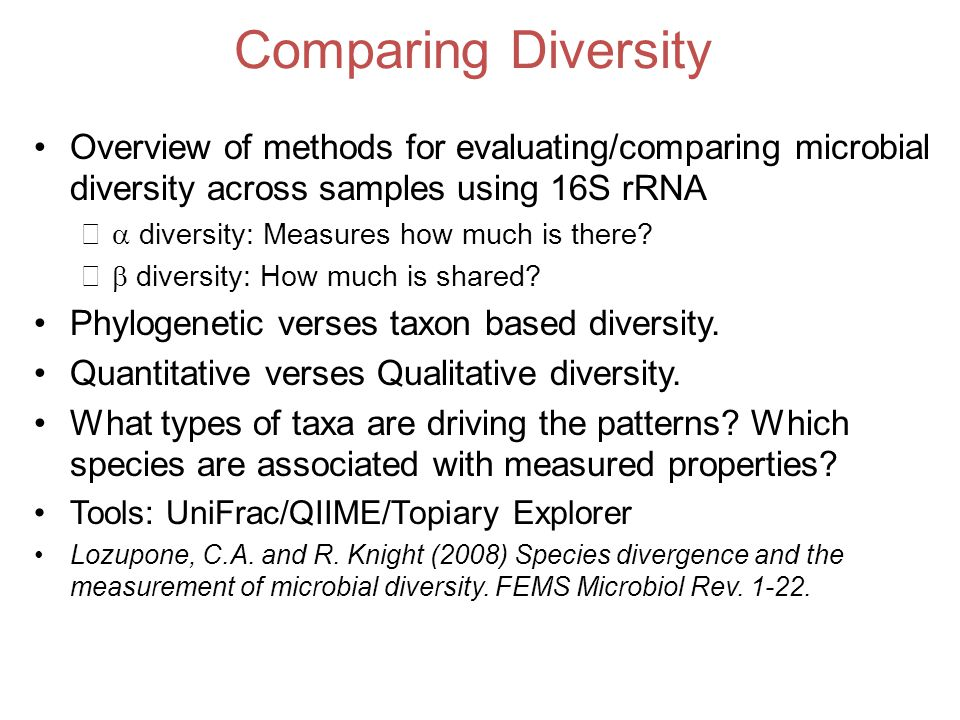 Comparing Diversity Overview of methods for evaluating/comparing microbial diversity across samples using 16S rRNA.