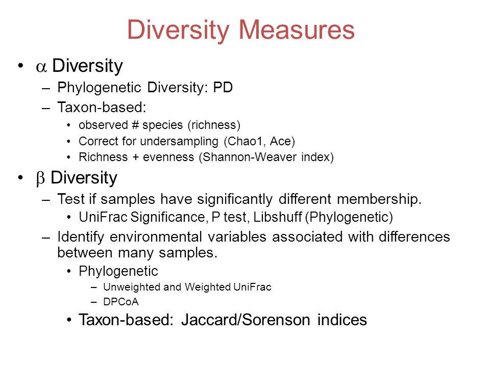 Diversity Measures Diversity  Diversity