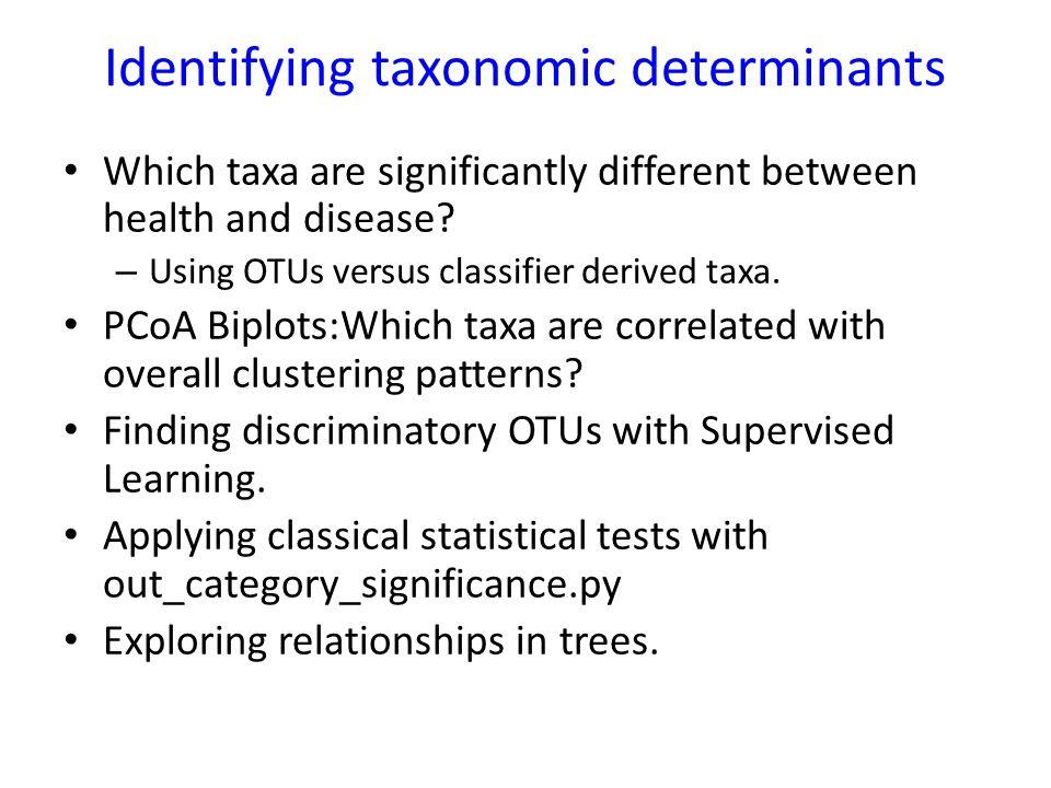 Identifying taxonomic determinants