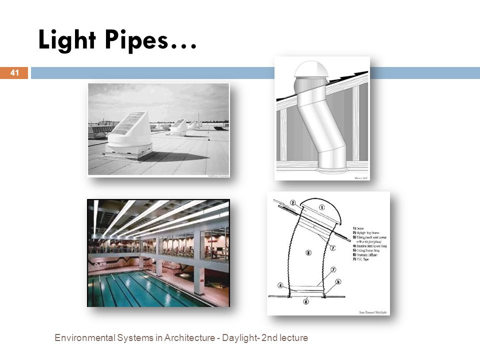 Light Pipes… Environmental Systems in Architecture - Daylight- 2nd lecture