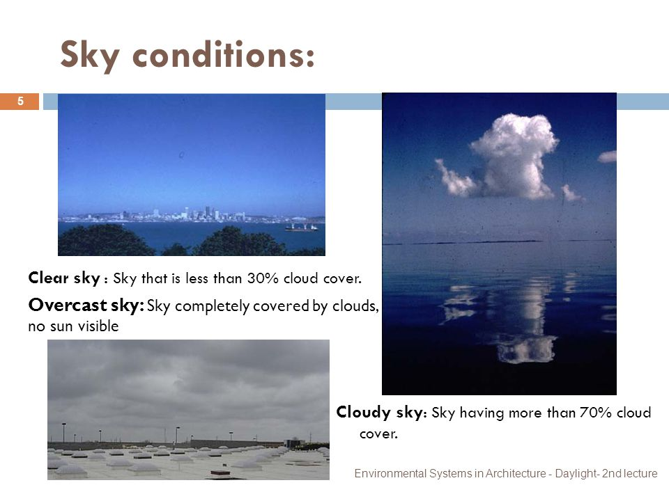 Sky conditions: Clear sky : Sky that is less than 30% cloud cover.