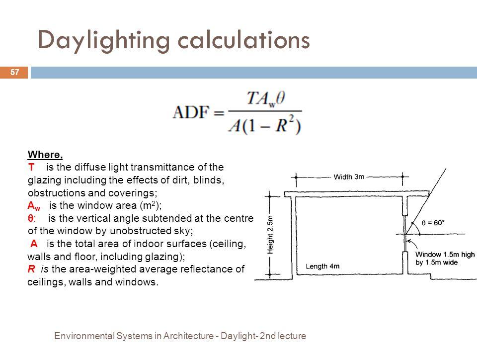 Daylighting calculations