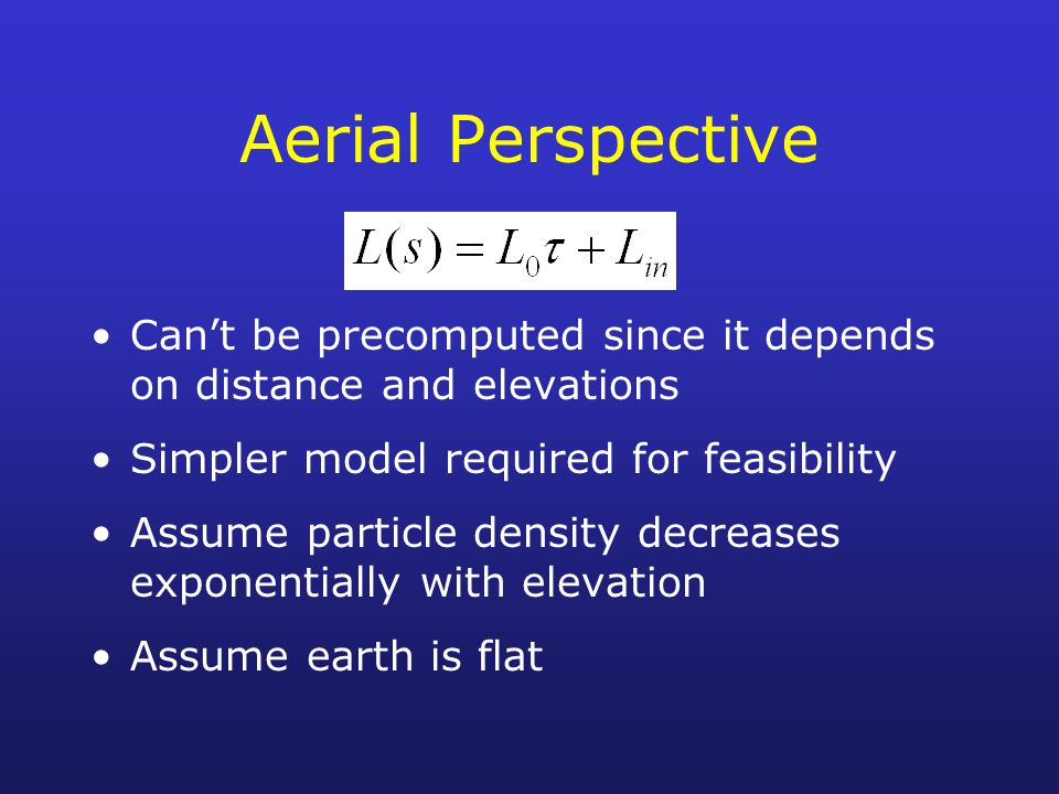 Aerial Perspective Can't be precomputed since it depends on distance and elevations. Simpler model required for feasibility.