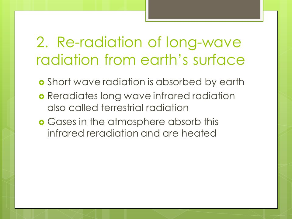 2. Re-radiation of long-wave radiation from earth's surface