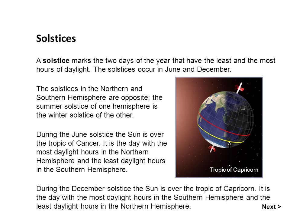 Solstices A solstice marks the two days of the year that have the least and the most hours of daylight. The solstices occur in June and December.