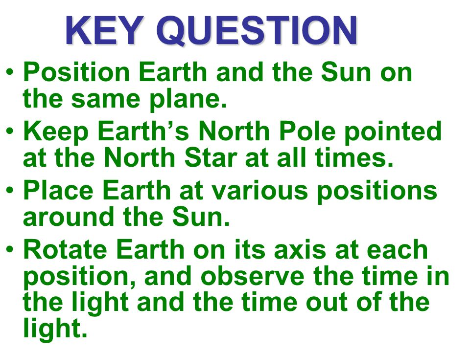 KEY QUESTION Position Earth and the Sun on the same plane.