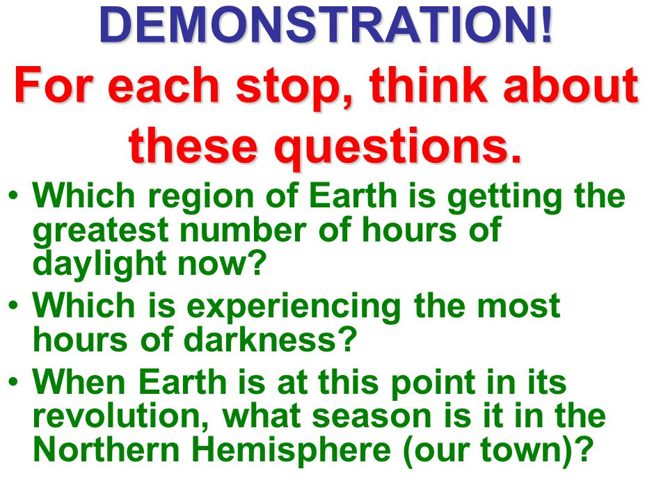 DEMONSTRATION! For each stop, think about these questions.