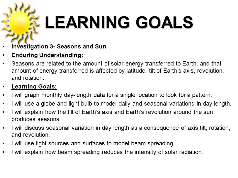 LEARNING GOALS Investigation 3- Seasons and Sun