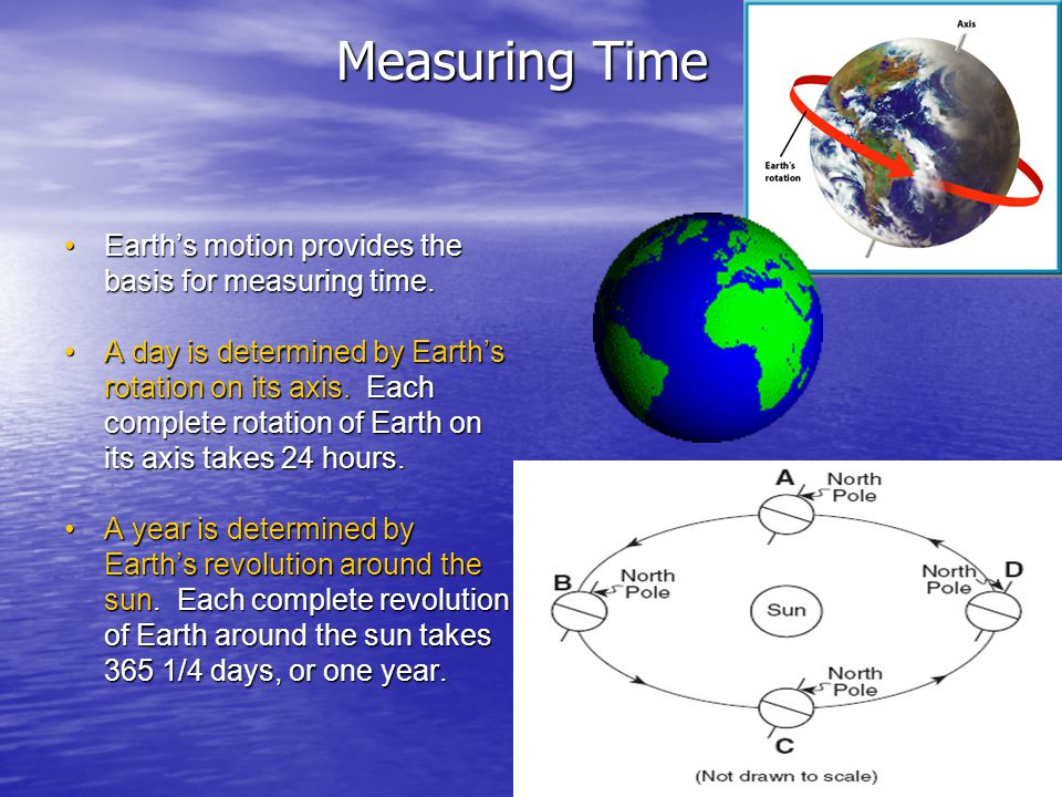 Measuring Time Earth's motion provides the basis for measuring time.