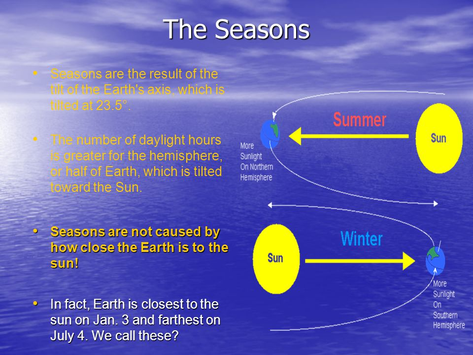 The Seasons Seasons are the result of the tilt of the Earth s axis, which is tilted at 23.5°.