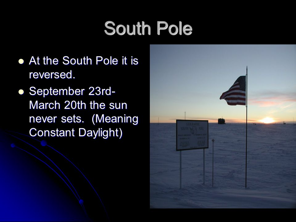 South Pole At the South Pole it is reversed.