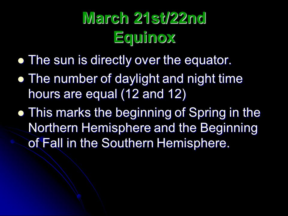 March 21st/22nd Equinox The sun is directly over the equator.
