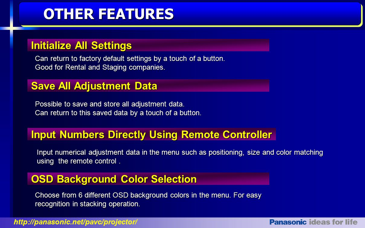 OTHER FEATURES Initialize All Settings Save All Adjustment Data