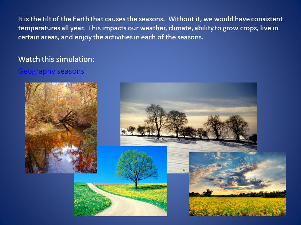 Watch this simulation: Geography seasons