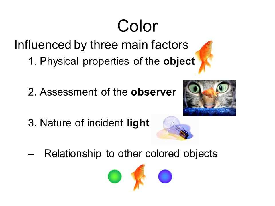 Color Influenced by three main factors