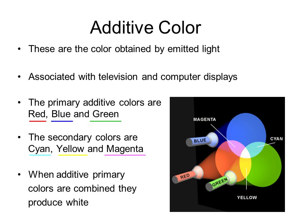 Additive Color These are the color obtained by emitted light