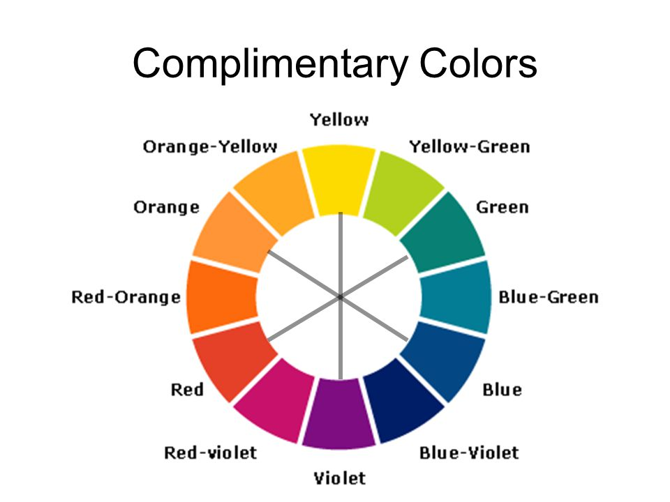 Complimentary Colors complementary colors -- colors that are opposite from one another in their makeup.