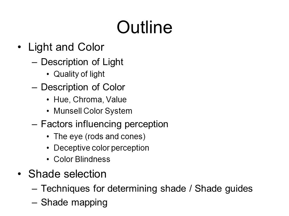 Outline Light and Color Shade selection Description of Light