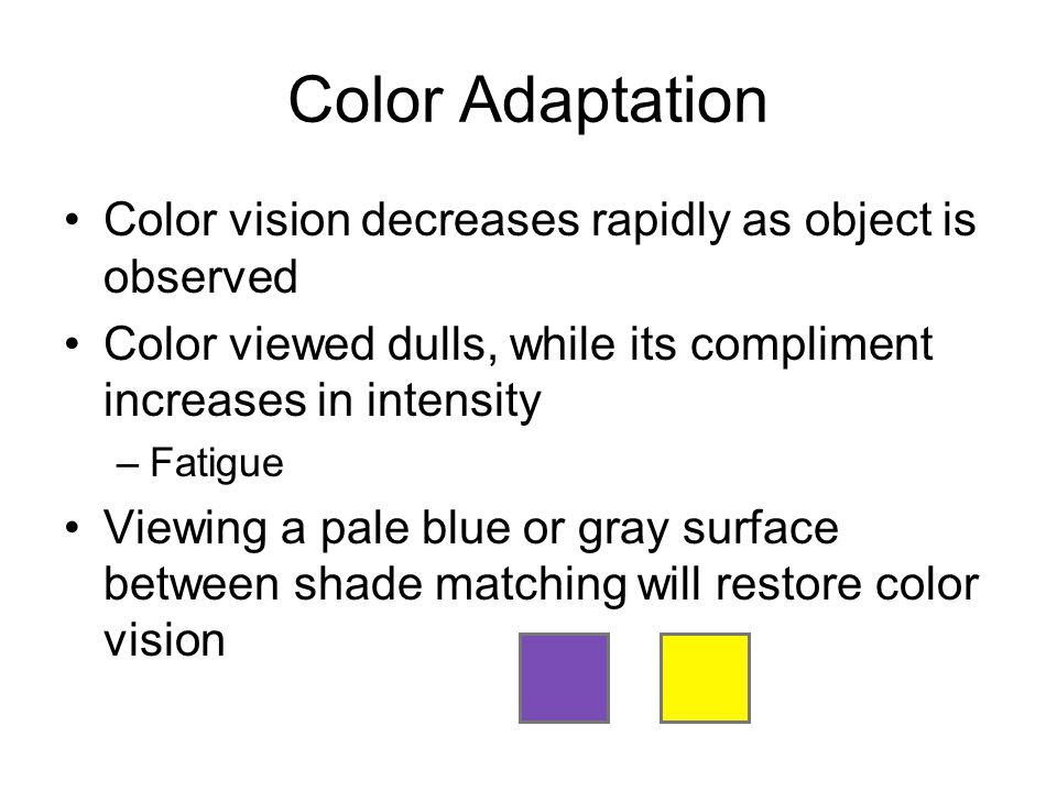 Color Adaptation Color vision decreases rapidly as object is observed