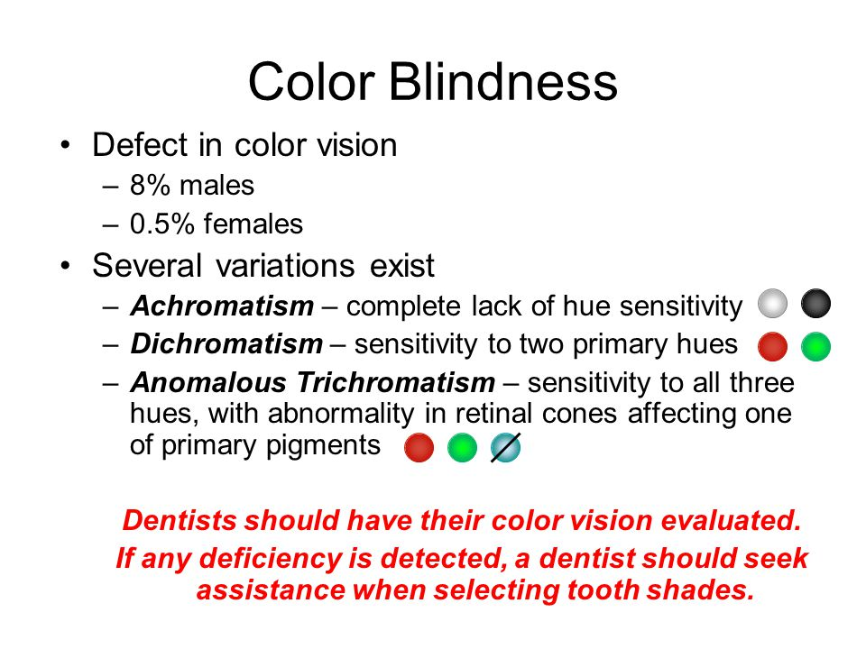 Dentists should have their color vision evaluated.