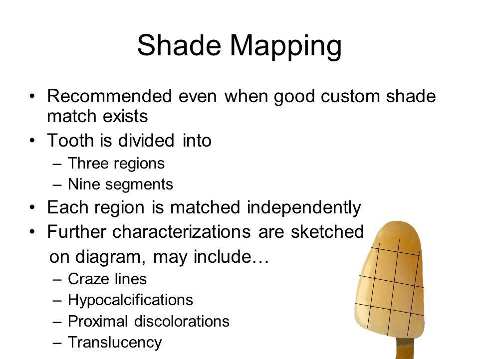 Shade Mapping Recommended even when good custom shade match exists