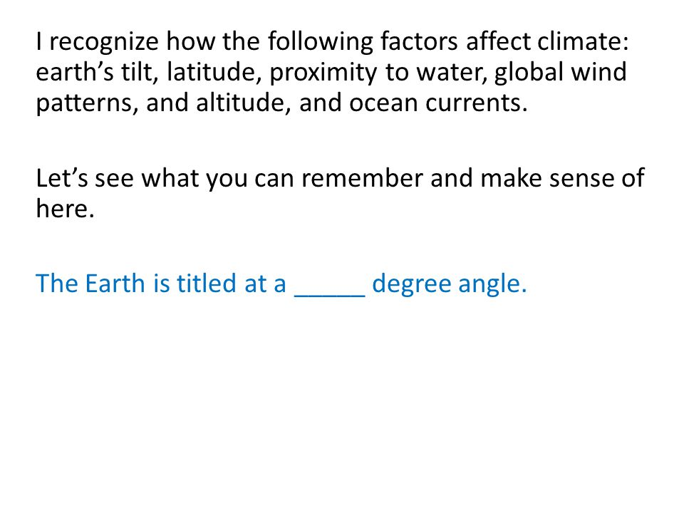 Factors determining the different seasons on earth