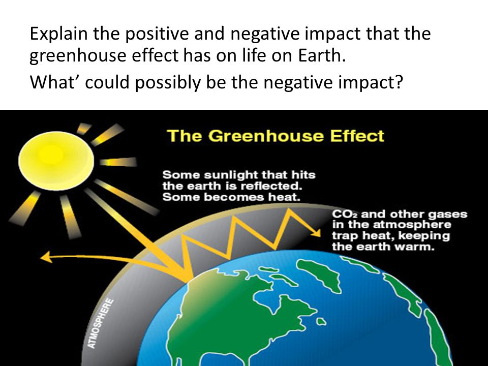 Explain the positive and negative impact that the greenhouse effect has on life on Earth.