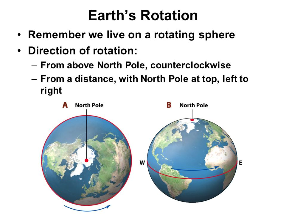 Earth's Rotation Remember we live on a rotating sphere