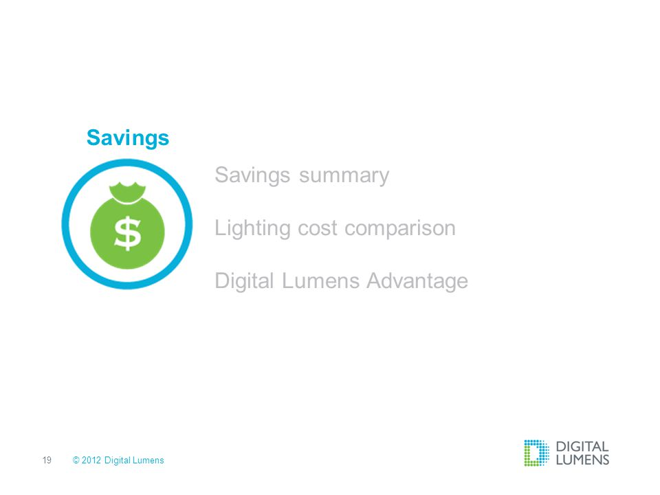 Lighting cost comparison Digital Lumens Advantage