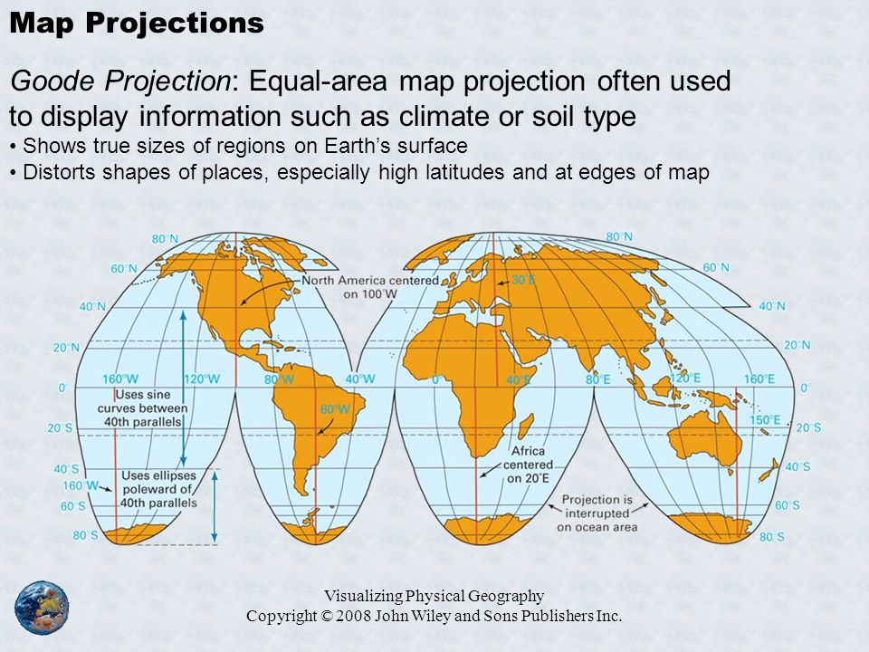 Map Projections Goode Projection: Equal-area map projection often used to display information such as climate or soil type.