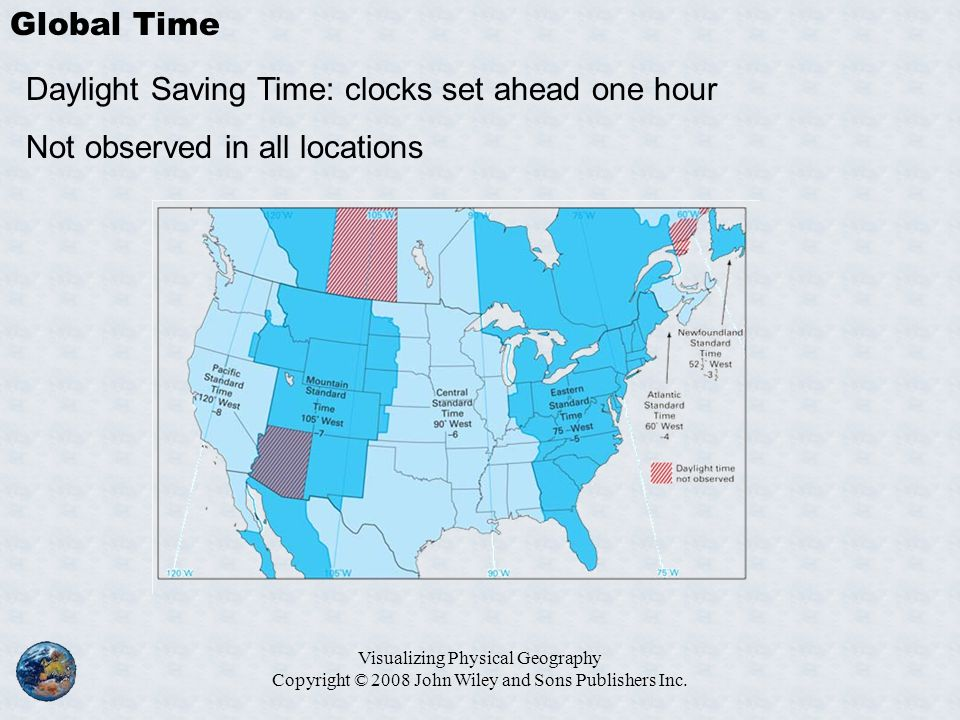 Daylight Saving Time: clocks set ahead one hour