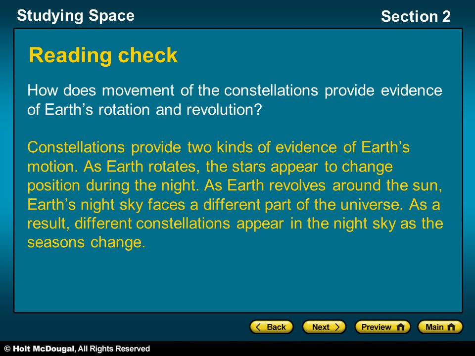 Reading check How does movement of the constellations provide evidence of Earth's rotation and revolution