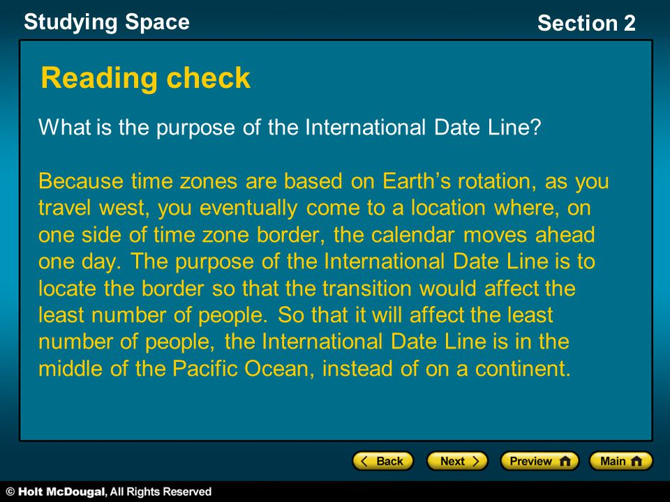 Reading check What is the purpose of the International Date Line