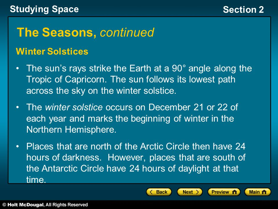 The Seasons, continued Winter Solstices