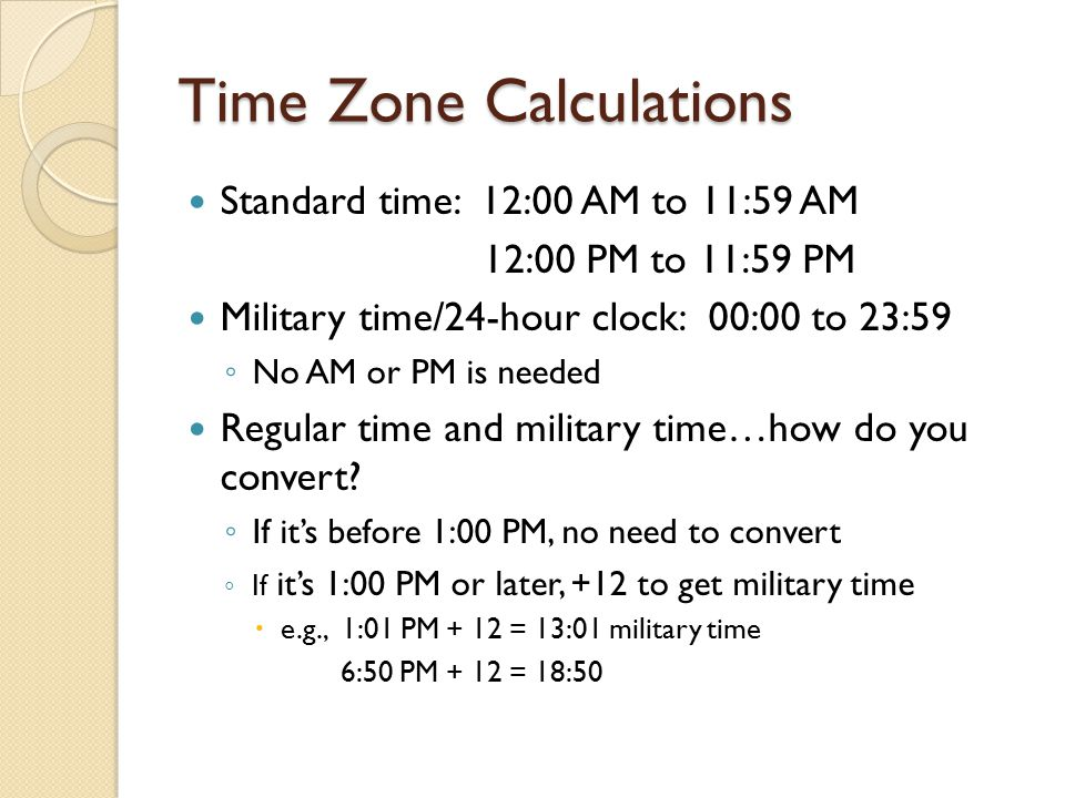 Time Zone Calculations