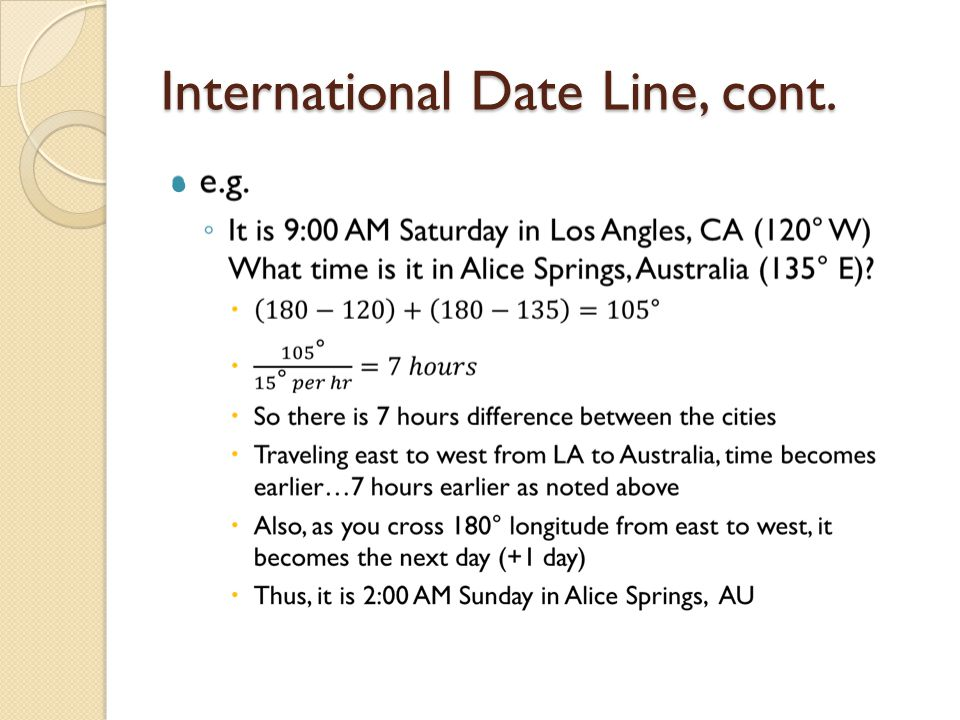 International Date Line, cont.