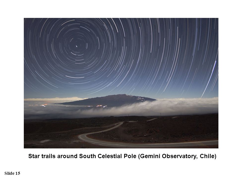 Star trails around South Celestial Pole (Gemini Observatory, Chile)
