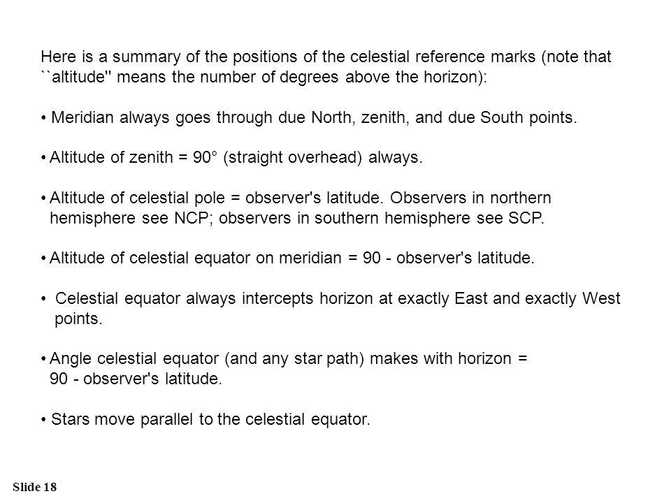 Here is a summary of the positions of the celestial reference marks (note that ``altitude means the number of degrees above the horizon):