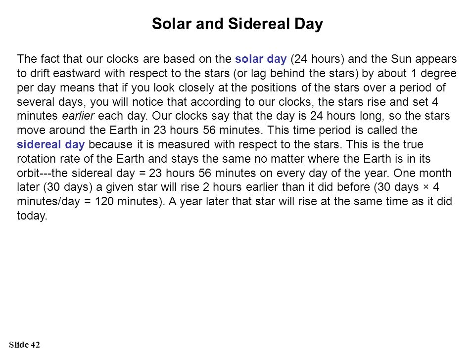 Solar and Sidereal Day
