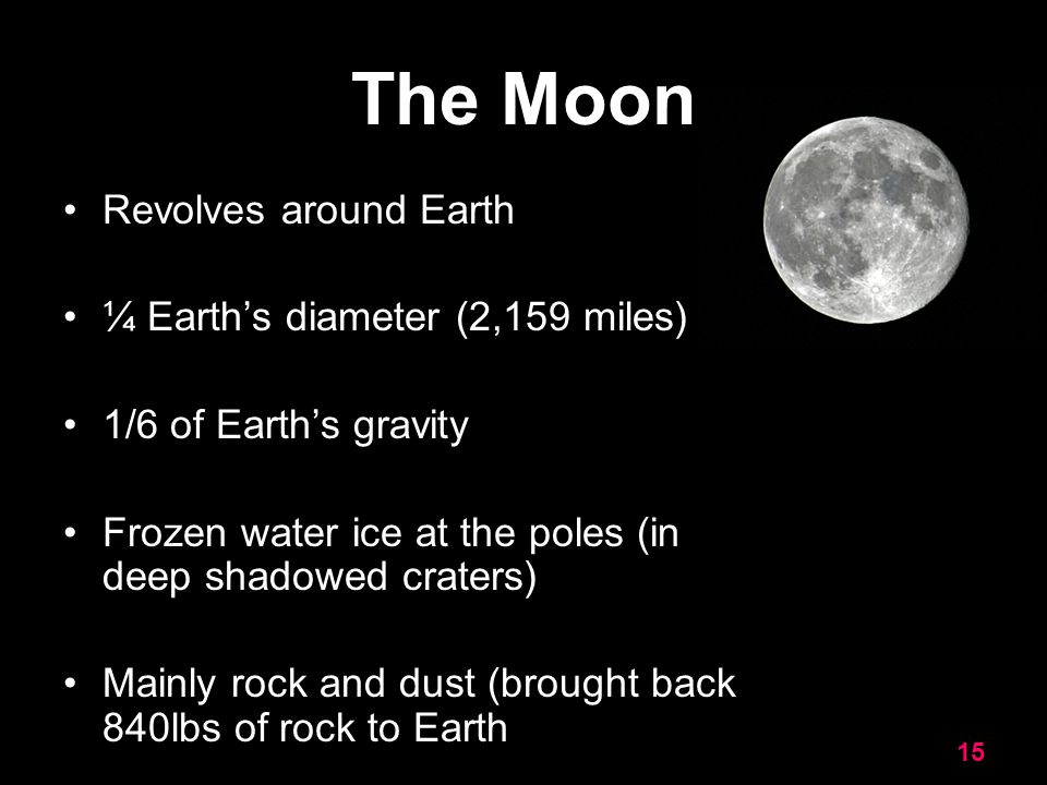 The Moon Revolves around Earth ¼ Earth's diameter (2,159 miles)