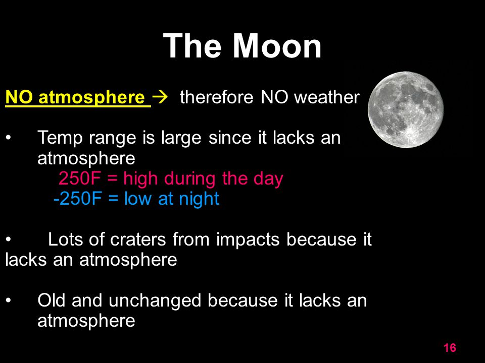 The Moon NO atmosphere  therefore NO weather
